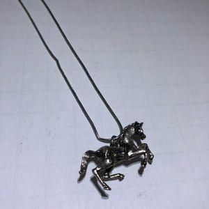 Vintage Art Silver Horse Pendant Necklace